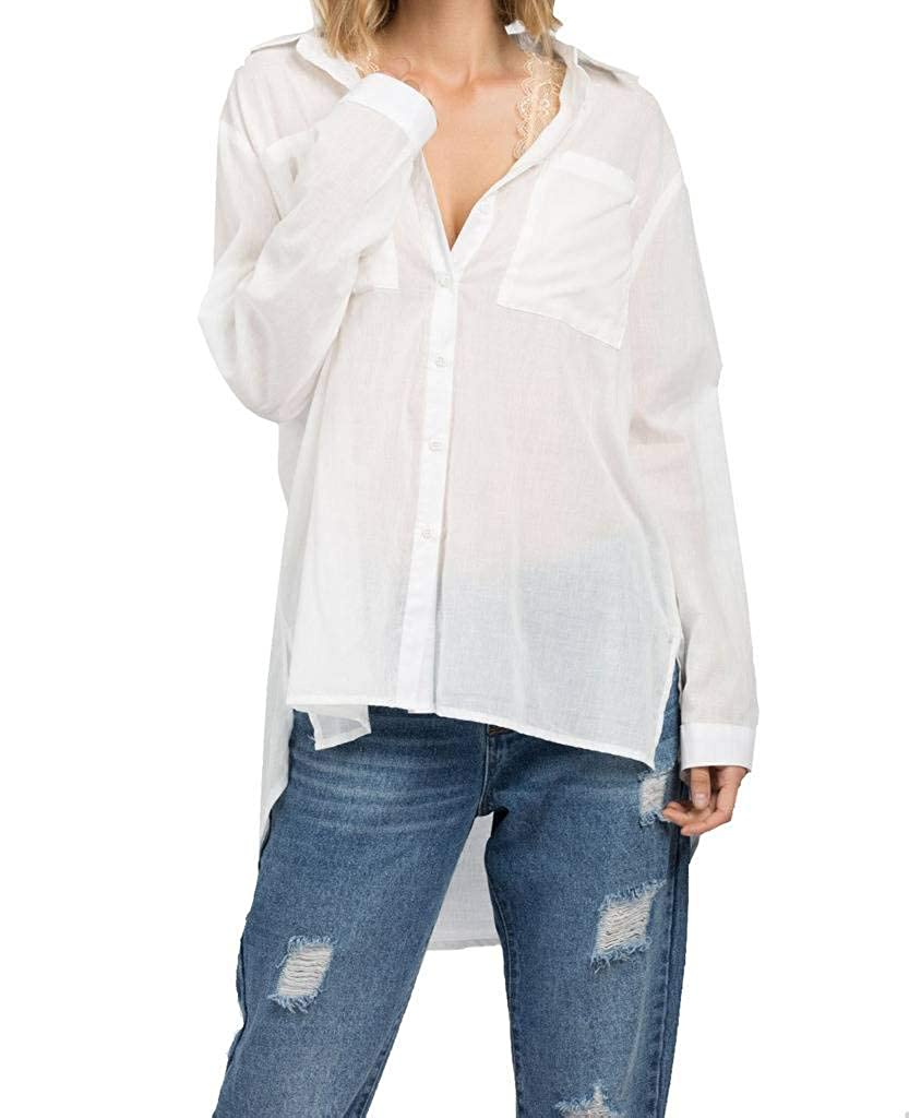 POL Clothing Womens Boyfriend Button Down High Low Side Split Top at Amazon  Women s Clothing store  049b95110a