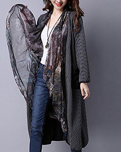 Grueso Outwear Suelto De Gris Larga Casual Capa Cárdigan Mujer Mujeres Larga Bufandas Con Manga Chaqueta fHCqn4p
