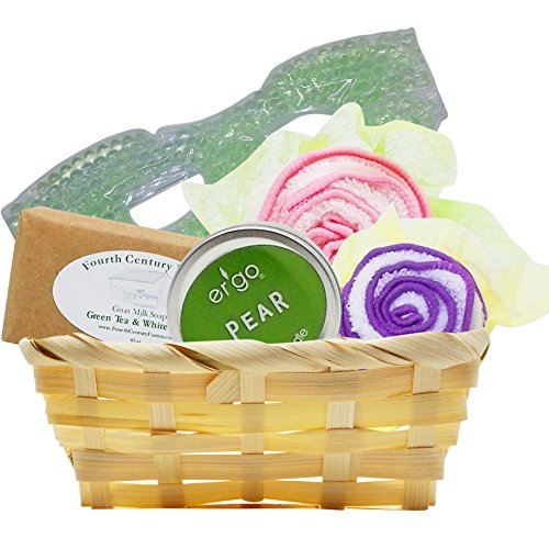 Aromatherapy Spa Gift Set - Green Tea and Pear - Artisan Candle and Soap, Luxury Floral Towels and Cooling Eye Mask