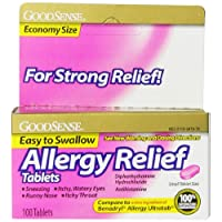 GoodSense Allergy Relief, Diphenhydramine HCL Antihistamine, 25 mg, 100 Count