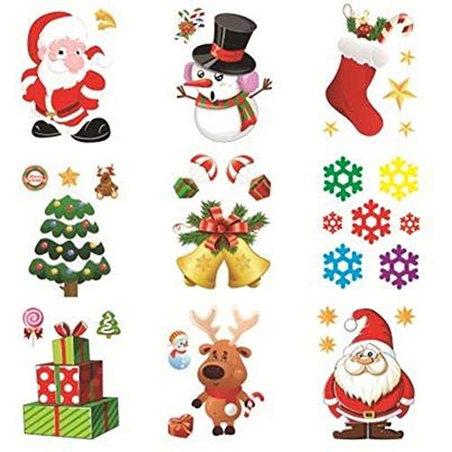 30 Pack Christmas Window Clings Christmas Decorations Indoor Xmas Clings Window Stickers Christmas Window Decals Snow Flake Santa Claus, Snowman Multiple Styles Reusable Holiday Window Sticker Clings