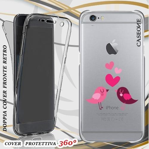 CUSTODIA COVER CASE LOVE BIRDS PER IPHONE 6 FRONT BACK TRASPARENTE