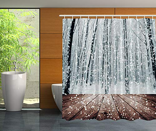 (Ambesonne Winter Wonderland Decorations Black Forest Trees in White Snowflakes, Polyester Fabric Bathroom Shower Curtain Set with)