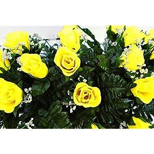 Yellow Roses~Cemetery Arrangement~Graveside Decorations~Headstone Saddle~Saddle Arrangement~Sympathy Flowers~Grave decor~Cemetery Flower Service Subscription Available 5