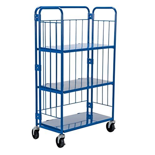Vestil ROL Steel Wire Cage Cart, 3 Shelves, Blue, 990 lbs Load Capacity, 59