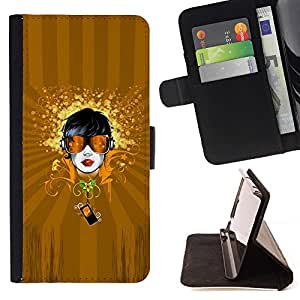 DEVIL CASE - FOR LG Nexus 5 D820 D821 - Abstract Girl Art - Style PU Leather Case Wallet Flip Stand Flap Closure Cover