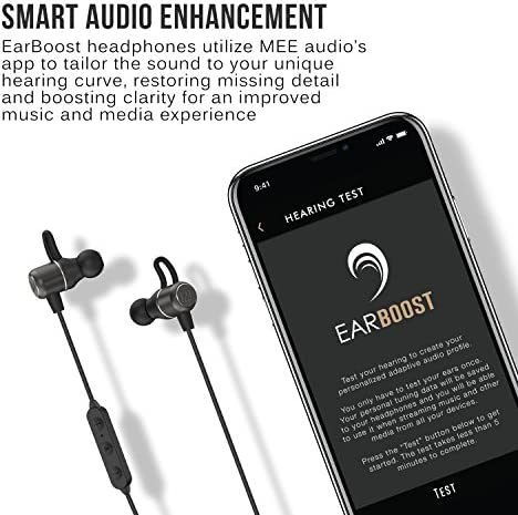 MEE audio EarBoost EB1 Bluetooth Wireless Adaptive Audio Enhancement Earphones with Companion app