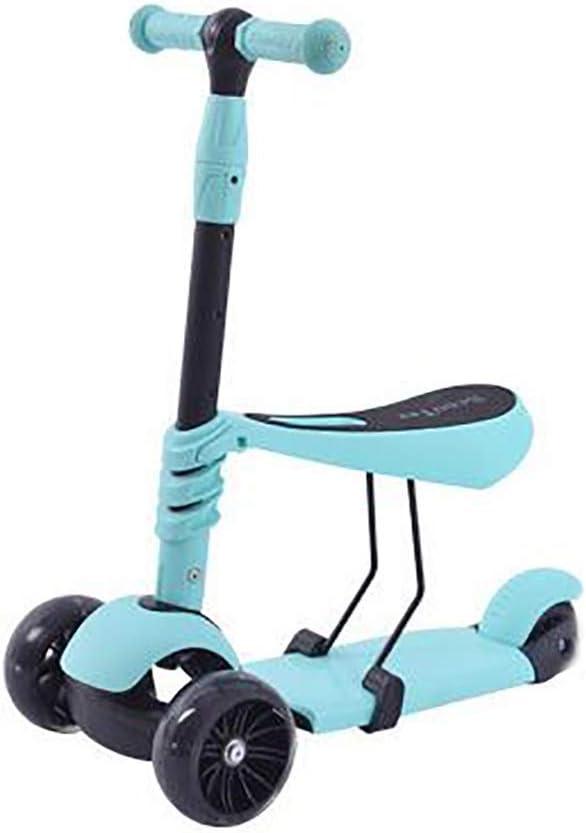 Kick Scooter Plegable, Flash de Niños Scooter de Rueda Puede Estar Sentado resbaladizo de Tres-en-uno Scooters Ajustable Walker for niños y niñas (Color : Blue)