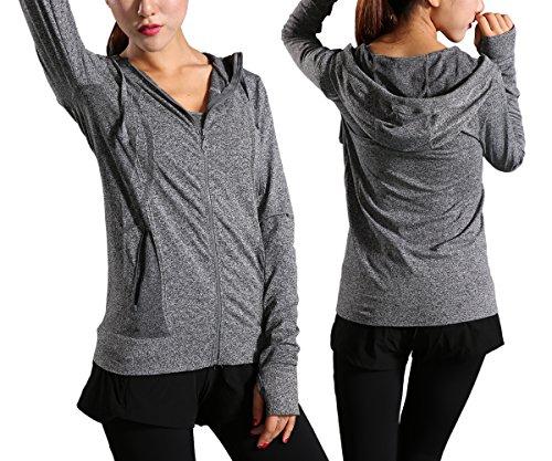 Pop Fashion Full Zip Hoodies for Women Hooded Sweatshirt with Thumbholes Jacket - 2 Colors (Large, Grey)