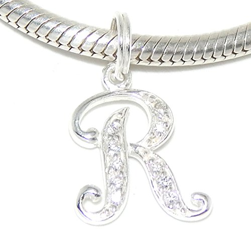 """Pro Jewelry .925 Sterling Silver Dangling """"Letter 'R' w/ White CZ"""" Charm Bead 3091"""