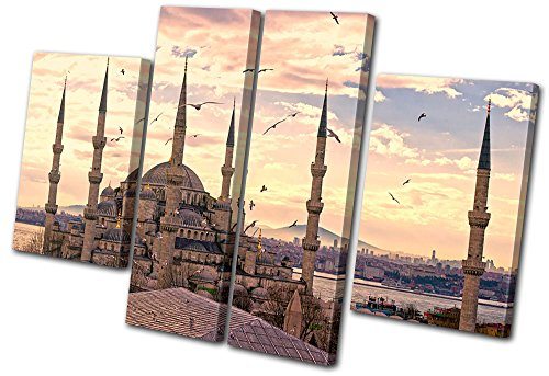 Bold Bloc Design - Religion Mosque Muslim Turkey - 280x180cm Canvas Art Print Box Framed Picture Wall Hanging - Hand Made In The UK - Framed And Ready To Hang by Bold Bloc Design