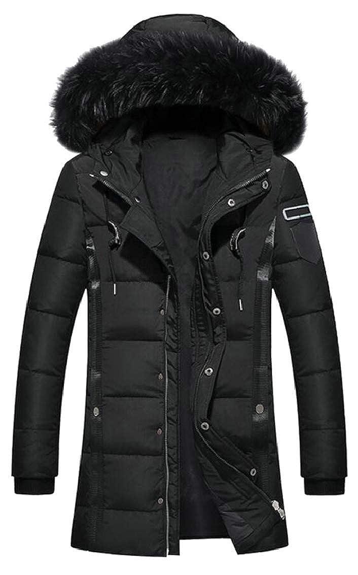 Keaac Men Long Thicken Warm Outwear Hooded Puffer Down Jacket Winter Coat