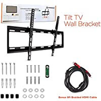 HyperGear Universal TV Mount, Slim Low Profile Secure Mounting for 32-70-inch Flat Screen Televisions or Monitors, Tilt Adjustable, Heavy Duty, up to 99 lbs with HDMI Cable Included