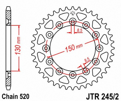 JT Sprockets JTR245//2.46 46T Steel Rear Sprocket