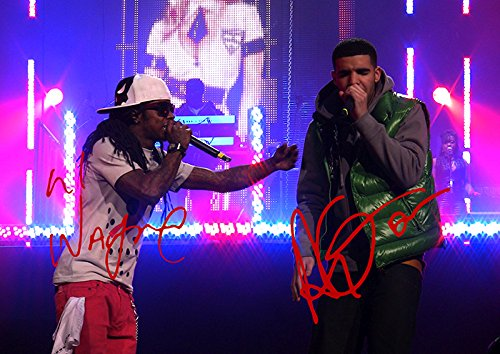 (Lil Wayne and Drake (11.7 X 8.3) Young Money Rapper Artist Print Dual Signed (Pre-print Autograph))