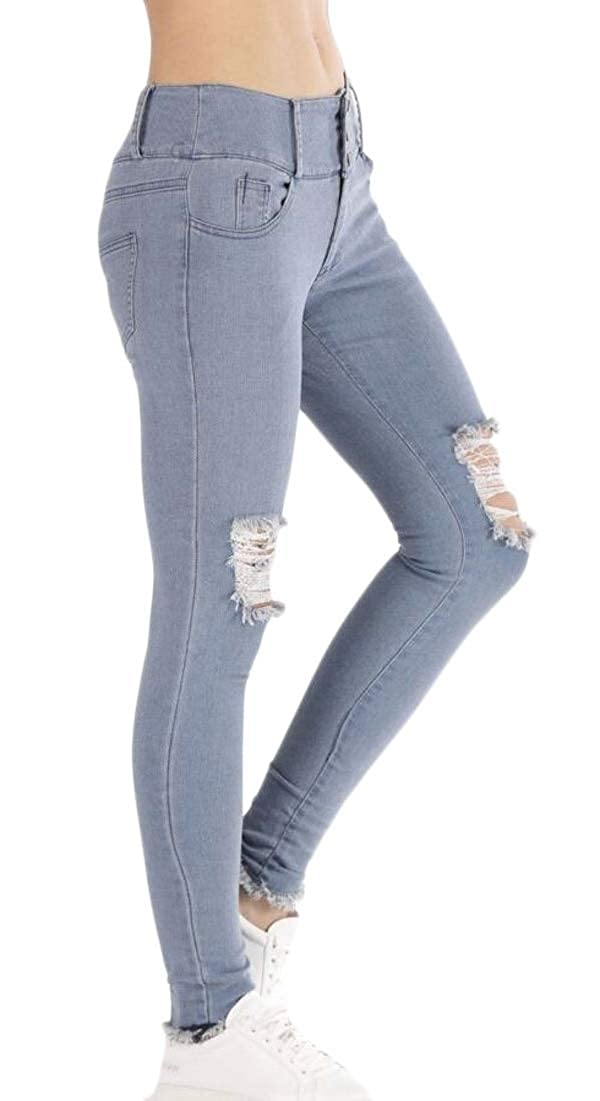 xiaohuoban Women Stretch Distressed Slim Fit Ripped Jean Skinny Jean