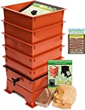 "Worm Factory DS5TT 5-Tray Worm Composting Bin + Bonus ""What Can Red Wigglers Eat?"" Infographic Refrigerator Magnet - Vermicomposting Container System - Live Worm Farm Starter Kit for Kids & Adults"