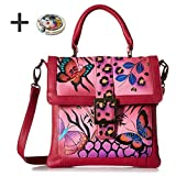 Anna By Anuschka Satchel Handbag & Purse Holder (Saddle Animal Butterfly Pink)