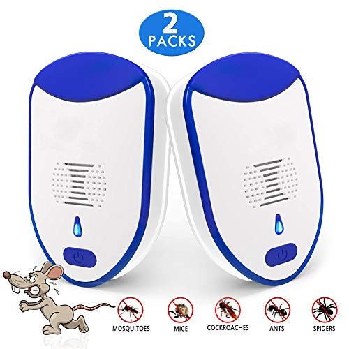 Ultrasonic Pest Repeller Plug in 2 Pack Humane Mice Control Newest Electronic Insect Repellent Easiest Way to Reject Mosquito Rodent Bed Bug Fly Cockroach Spider Rat, No Animal Kill Home Indoor