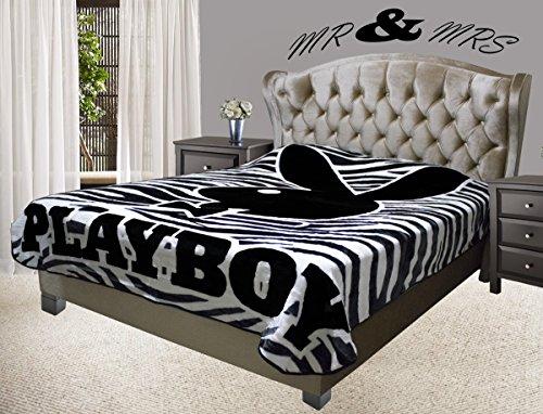 Playboy Classic Black Bunny Head with Tuxedo Covertures Blanket, Full/Queen, Zebra Design White/Black