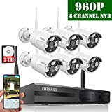 【2019 Update】 HD 1080P 8-Channel OOSSXX Wireless Security Camera System,6Pcs 960P(1.3 Megapixel) Wireless Indoor/Outdoor IR Bullet IP Cameras,P2P,App, HDMI Cord & 2TB HDD Pre-Install
