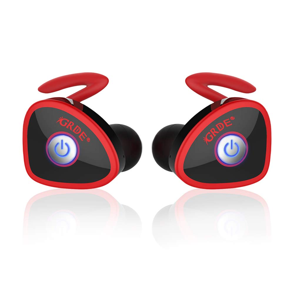Wireless Earbuds, totobay Ture Completely Wireless V4.1 Dual Mini Bluetooth Headphones Twin Stereo Sweatproof Sport Earphones with Mic for Samsung S9 8 Edge and More Red