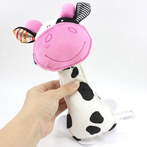 Polymer Kids Toys Cartoon Animal Plush Hand Rattles Baby Cow Bells Kids Toy(White,Pink) ()