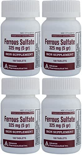 Ferrous Sulfate Iron Supplement 325 mg (5GR) Generic for Feosol Red Tablets 100 Tablets per Bottle 4 PACK Total 400 tablets