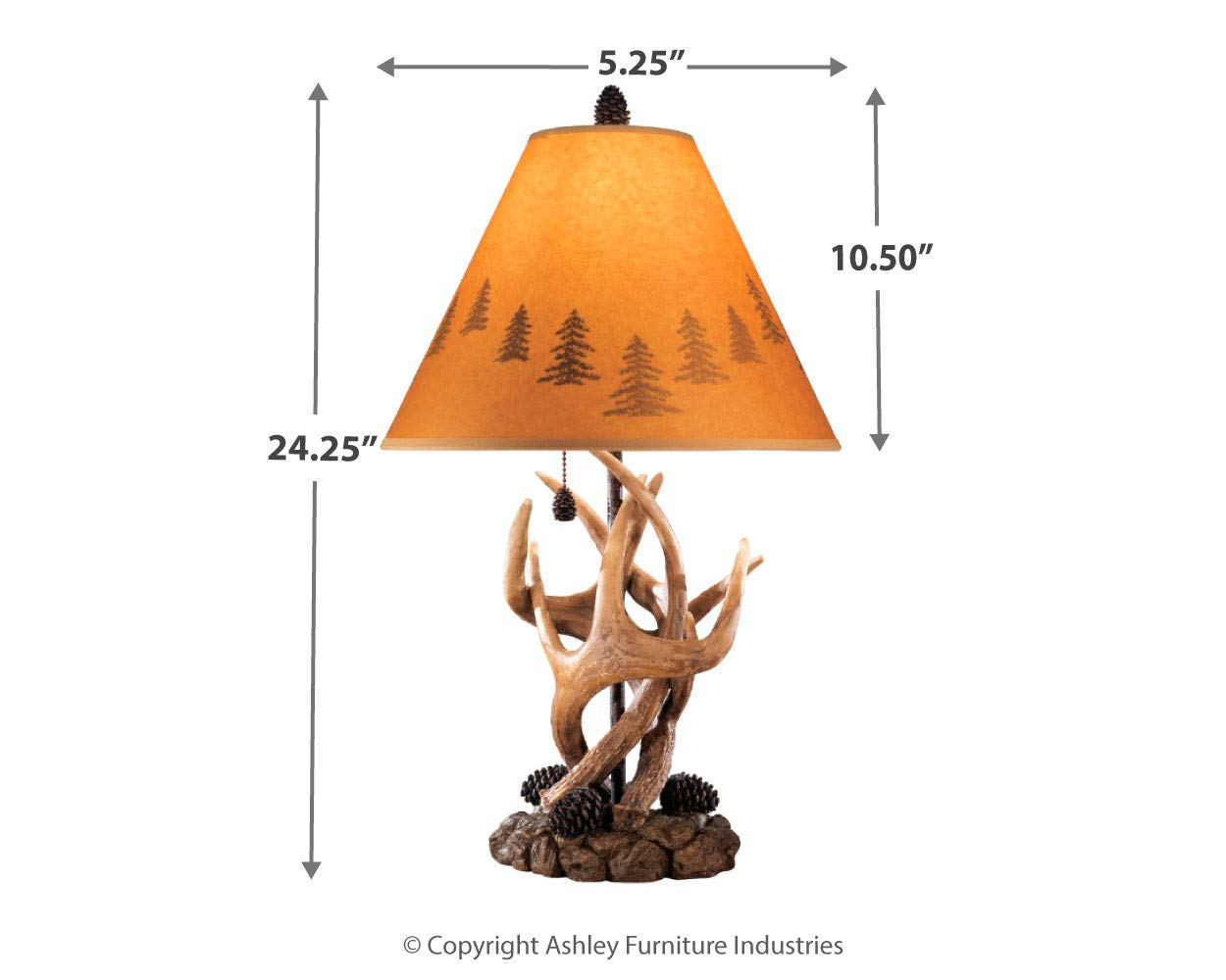 Ashley Furniture Signature Design - Derek Antler Table Lamps - Mountain Style Shades - Set of 2 - Natural Finish by Signature Design by Ashley (Image #5)