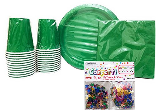 Party Supplies Set for 20 guests! Includes: 20 Paper Plates, 20 Napkins & 24 Cups. (Green) - Green Luncheon Plate
