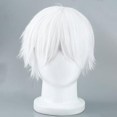 nicebuty männliche peluca blancas para cosplaying Anime personajes recto corto Pelucas sintética joyas accesorios: Amazon.es: Joyería