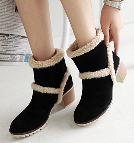 IDIFU Womens Casual Faux Fur Mid Chunky Heels Slip On Snow Boots Ankle High Winter Booties Black t4QuR