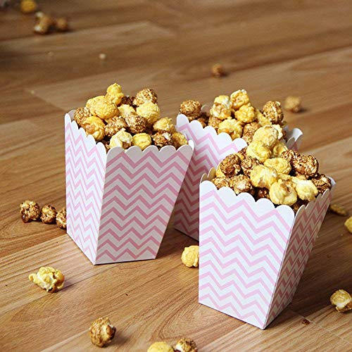 Treat Loot Sacks - Party Diy Decorations - Popcorn Boxes Pink Trio 36 Pack Polka Dot Chevron Stripe Treat Small Movie Theater Paper Bags - Decorations Party Party Decorations Wedding Paper Case Loot Supplie