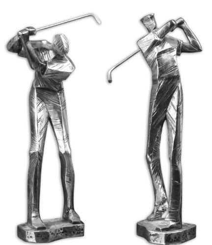 Zinc Decor Metallic Silver Golfer Statues S/2 Modern Golf Men Figurine Sculptures
