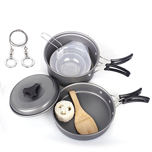 Unigear Camping Pots, Portable Hard Anodized Aluminum Non-stick Cooking Ware Cookware Picnic Bowl Pot Pan Kits (Set of 10)