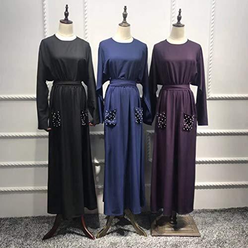 Muslim Dress Women Summer Solid Pearls Embellished Flowy Dress Casual Loose Kaftan Party Long Dresses with Pockets Black by BingYELH Muslim (Image #2)