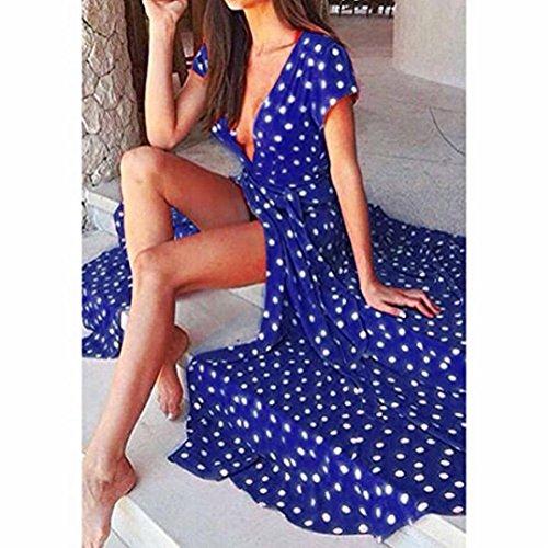 XS Sexy Wrap Blue Neck Polka Jaycargogo Dress Deep V Women's Dot Maxi 5gZnFqwPx