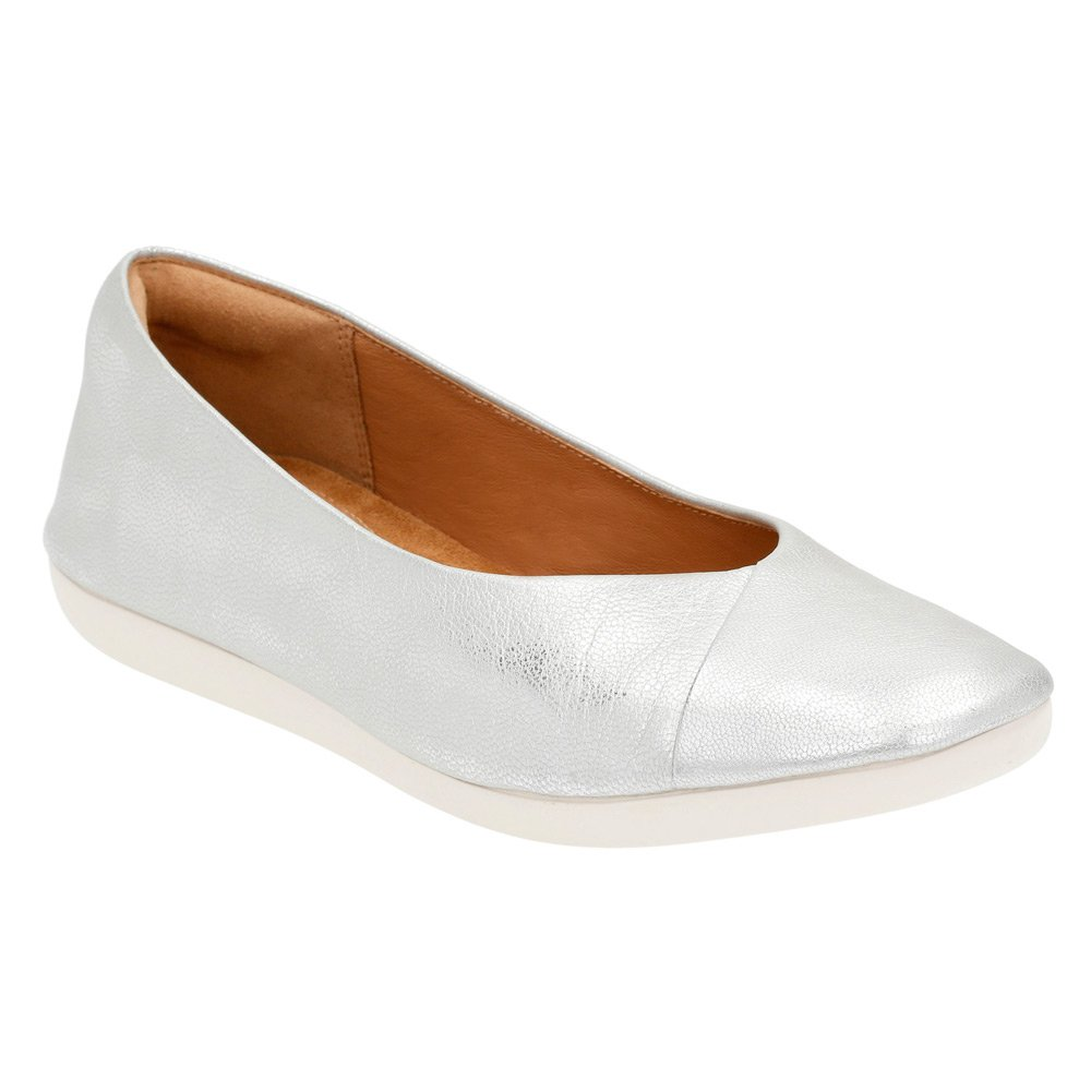 CLARKS Women's Feature Fest Ballet Flat B011VCTL1O 10 B(M) US|Silver Leather