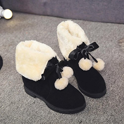38 Snow Black Hairball Girls Kanzd Boots Fashion Winter Black Women Boots Soft Ankle Shoes XwXaqPO