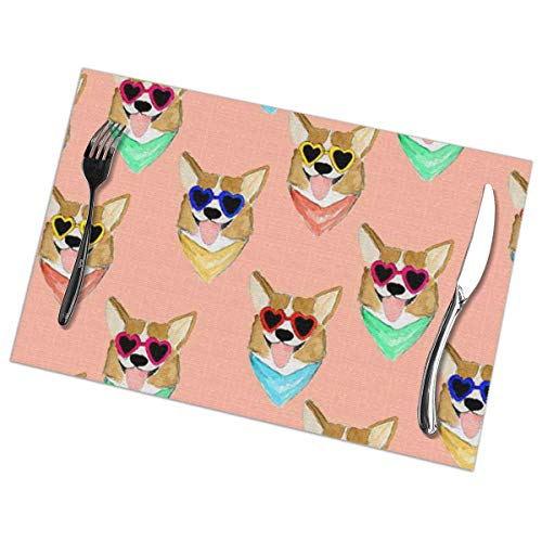 Cool Pet Dog with Sunglasses Dining Place Mats Set of 6 Anti-Skid Washable PVC Table Mats 12 x 18 ()