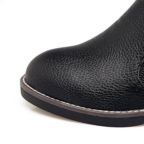 AllhqFashion Mujeres Puntera Redonda Cremallera Pu Sólido Mini Tacón Botas Negro