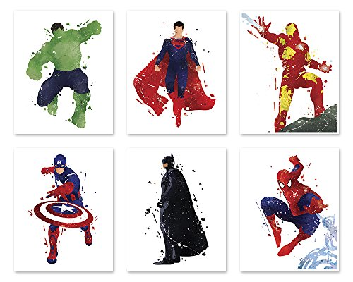 8x10 P33 Superhero Wall Decor Poster- Legends Art Prints - 8x10 Watercolor Painting Paper - Set of Six - Hulk - Superman - Iron Man- Captain America - Batman - Spiderman - Great Decor For Your Home