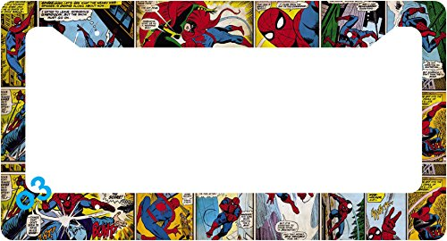 (Spider-Man Collage Comic Auto Car Frame Collage License Plate Frame Aluminum (Comic))