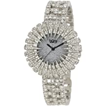 Burgi Women's BU54SS 15.5mm Dazzling Crystal Analog Quartz Stainless Steel-Plated Silver Watch