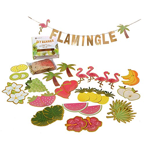 Paper jazz Letters Summer Banner Fruit Party DIY Banner Tropical Hawaiian Festival]()