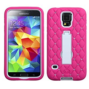 ASMYNA White/Hot Pink Symbiosis Stand Protector Cover (with Diamonds) for SAMSUNG Galaxy S5