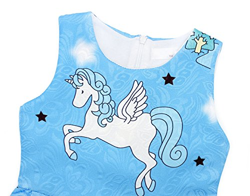 Cotrio Rainbow Unicorn Dress for Little Girls Birthday Party Dress Up Toddlers Casual Dresses Size 6 (5-6Years, Blue with Stars) by Cotrio (Image #5)