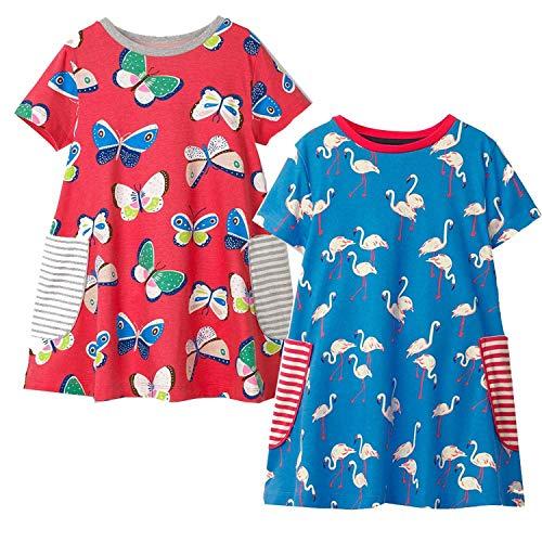 2Pcs Little Girls Summer Dress Party Princess Dress Baby Girl Clothes Animal Applique Kids Dresses for Girls -