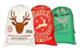 KEFAN 3 Pack Christmas Bag Santa Sack Canvas Bag for Gifts Santa Sack with Drawstrings Extra Large Size 27.5''x19.5'' (Pattern 5)