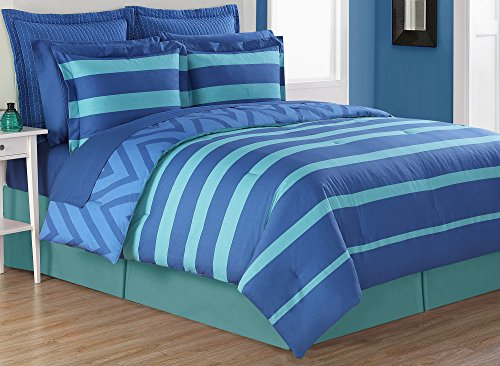 Fiesta 4 Piece Biscay Bed Skirt and & 2 Pillow Shams, Full, Lapis/Turquoise Blue Comforter Set, ()